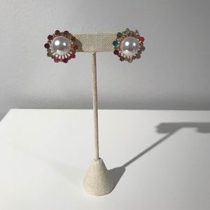 Jewelry - Pearl and Gem Starburst Earrings